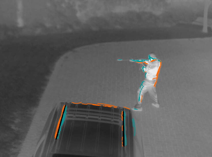 Detecting person with weapon in infrared